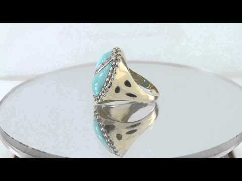 Estate 3.00ct 14k Gold Sleeping Beauty Turquois With Topaz & Diamond Ring