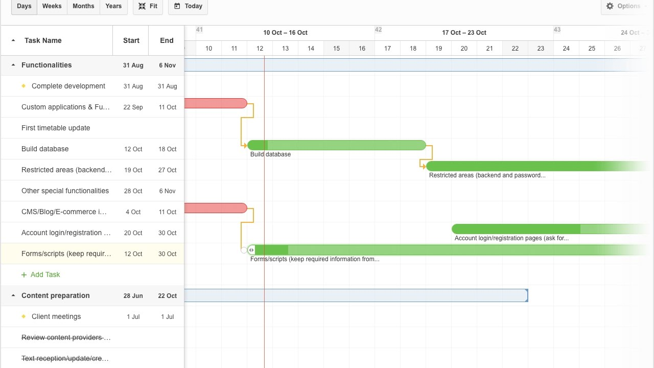 Advanced gantt chart features and setup youtube