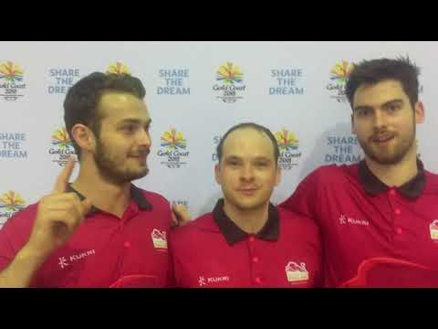 Team England Men's team talking after winning bronze at Gold Coast 2018 Commonwealth Games