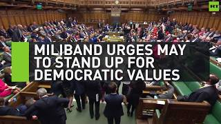 Miliband urges May to stand up for democratic values