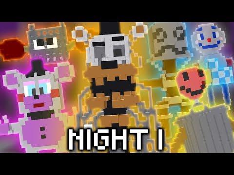 Minecraft FNAF 6 Night 1 - MOLTEN FREDDY & THE TRASH ANIMATRONICS! (Minecraft FNAF Roleplay)