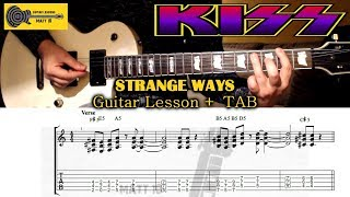 Strange Ways (Kiss) GUITAR LESSON with TAB - EASY ROCK GUITAR SONG