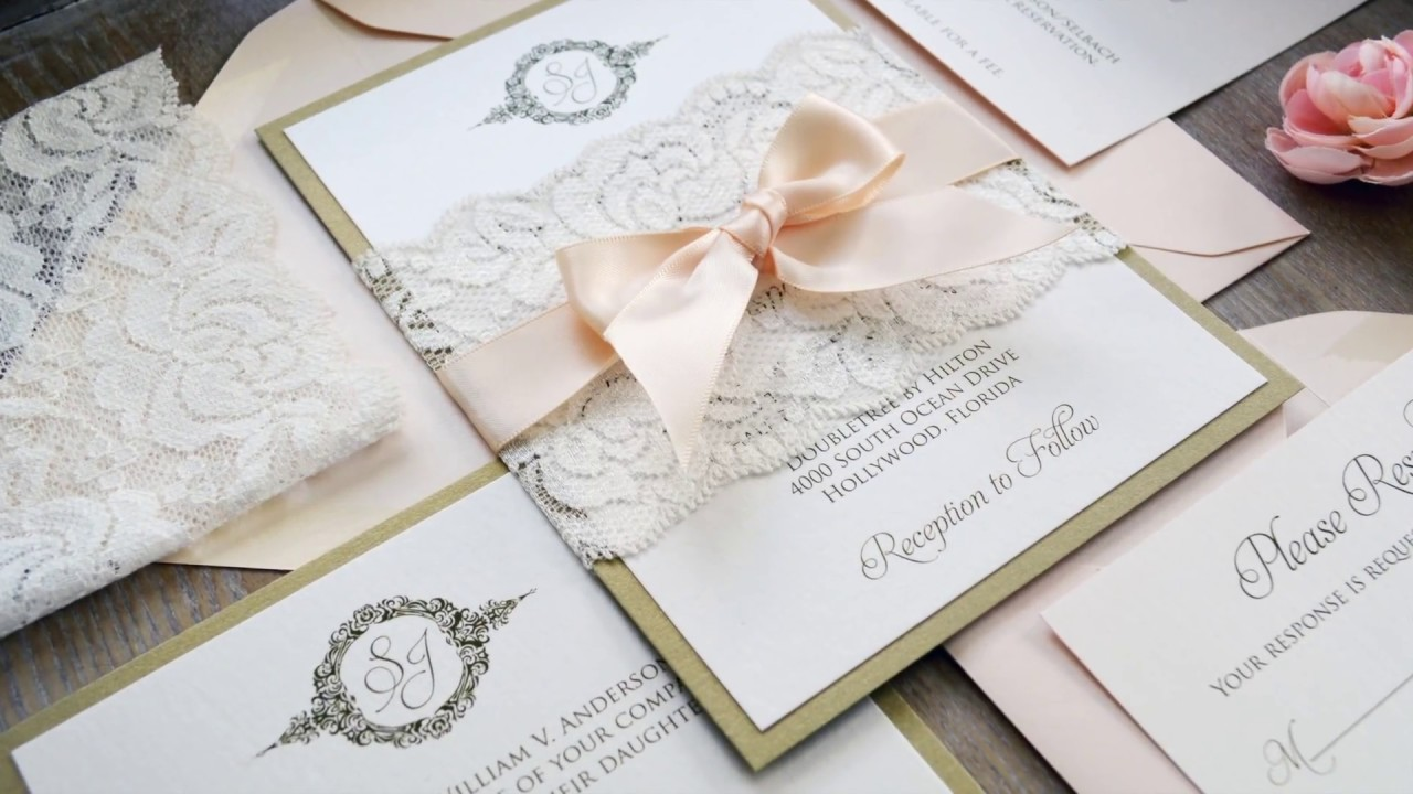 DIY WEDDING INVITATIONS USING LACE BELLY BANDS - YouTube