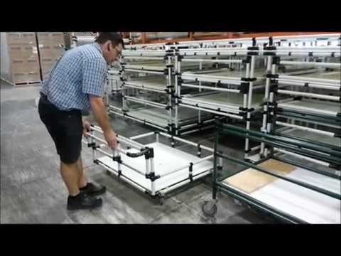 Modular material handling cart stored in rack