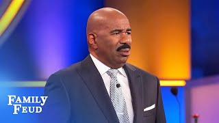 Ben tries to clean it up with Steve Harvey. And FAILS... | Family Feud