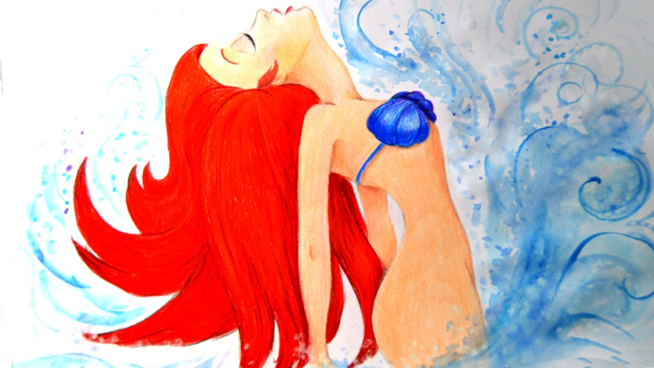 how to draw ariel the mermaid