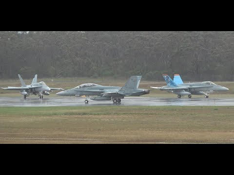 Eight RAAF F/A-18A  Hornets depart soggy...