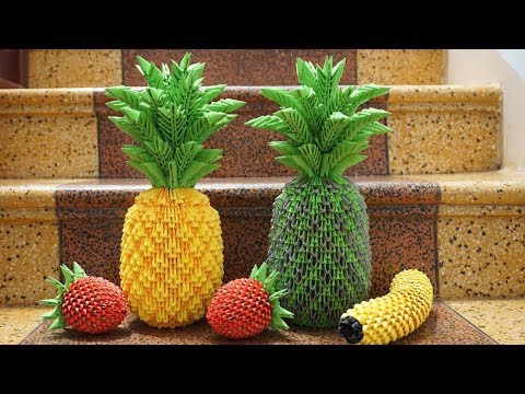 3D Origami Pineapple Tutorial   DIY Paper Pineapple Home Decoration