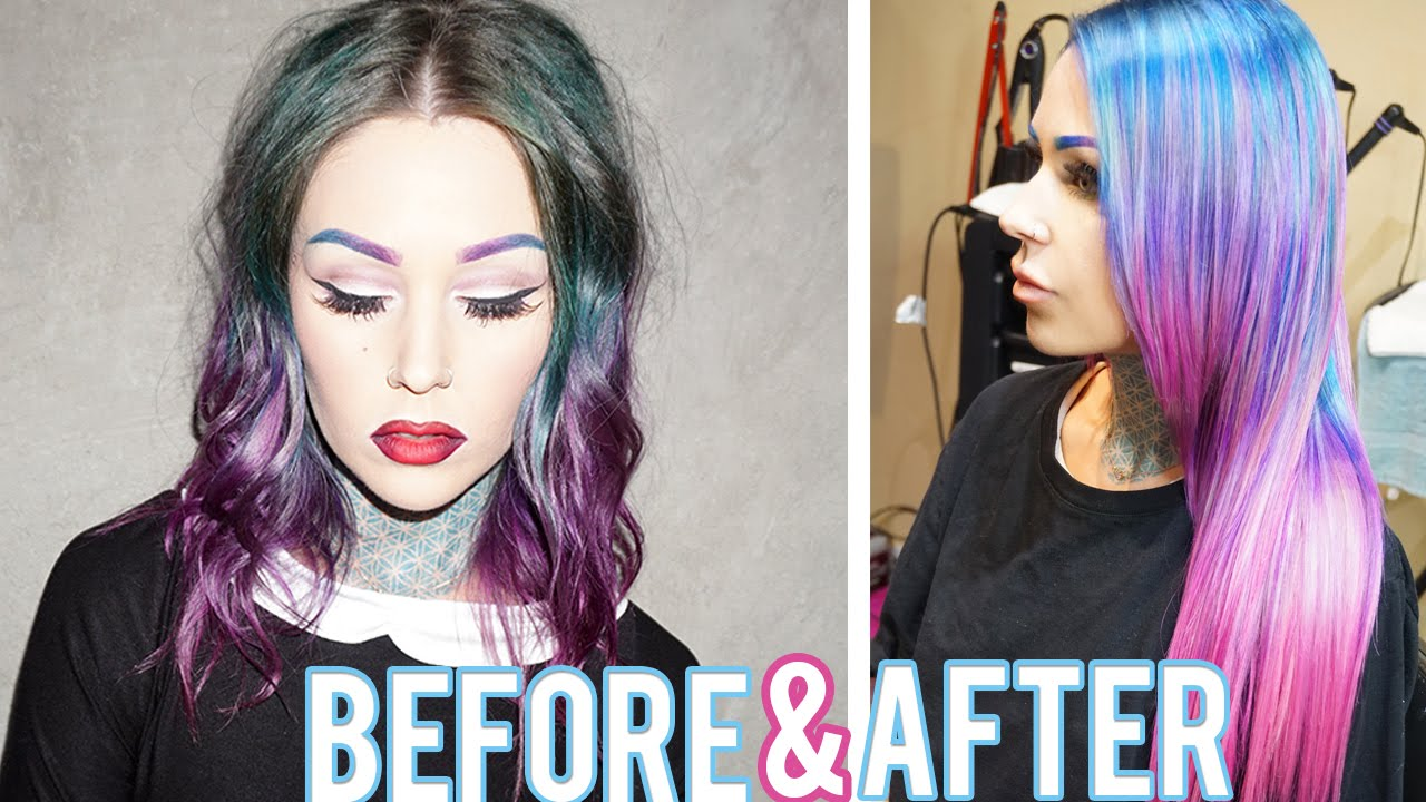 From Dark Hair To Light Pastel Hair With Tape In Extensions
