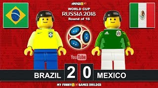 Brazil vs Mexico 2-0 • World Cup 2018 • Round of 16 (02/07/2018) All Goals Highlights Lego Football