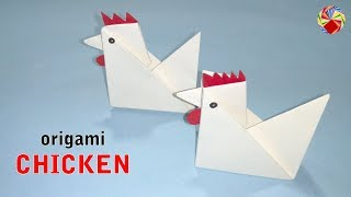 Origami Chicken - How to Fold simple Paper Chicken - Easy Tutorial - Origami Arts