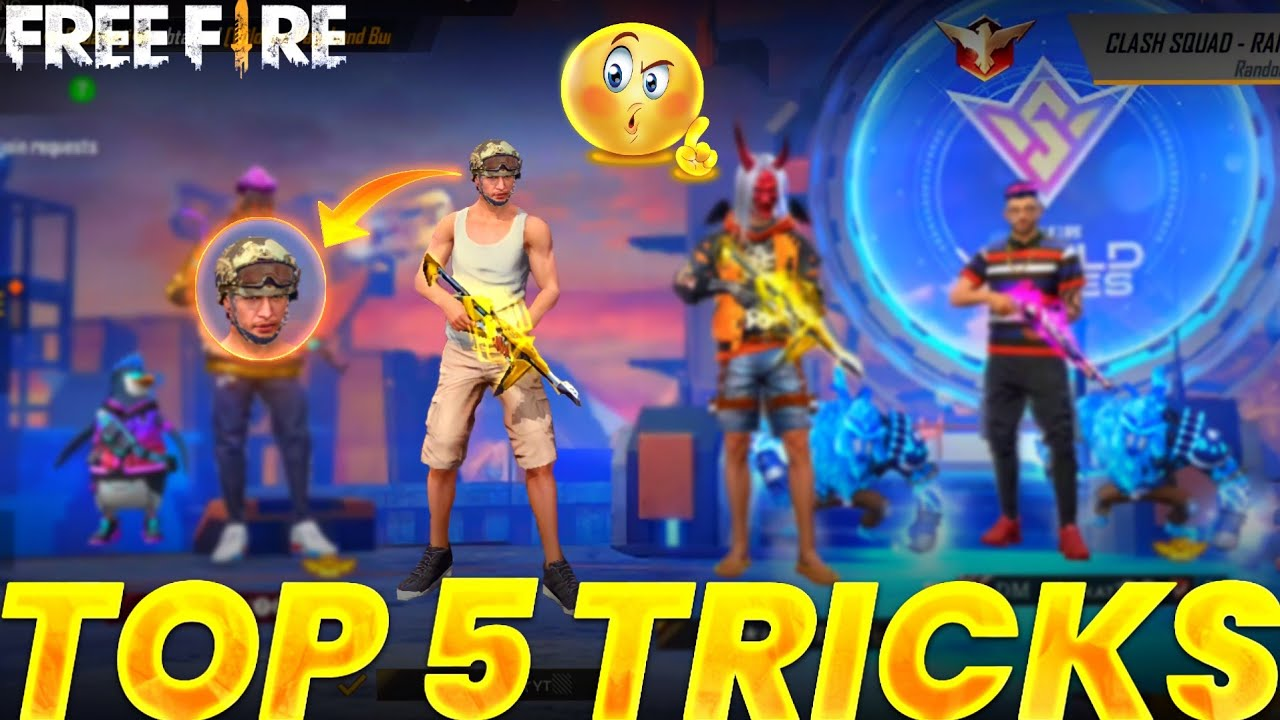 Top 5 unknown Tricks To surprise your friends and enemies || Crazy Tricks 😂 in Garena free fire