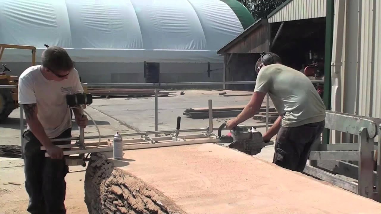 Cutting A 375 Year Old Bur Oak For Table Tops With An