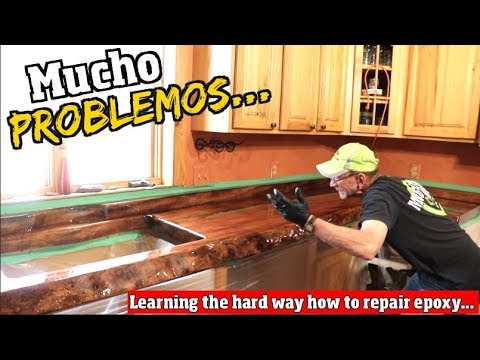 A bad Epoxy Job on Our DIY Live Edge Kitchen countertop ... how to do Epoxy repair Pt3