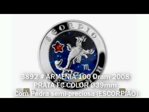3892 # ARMENIA 100 Dram 2008 PRATA FC COLOR Ø39mm C/ Pedra Semi-preciosa (ESCORPIÃO)