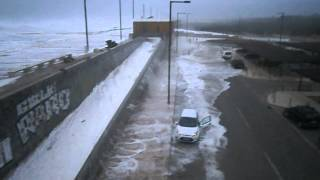 Big Wave Floods Road