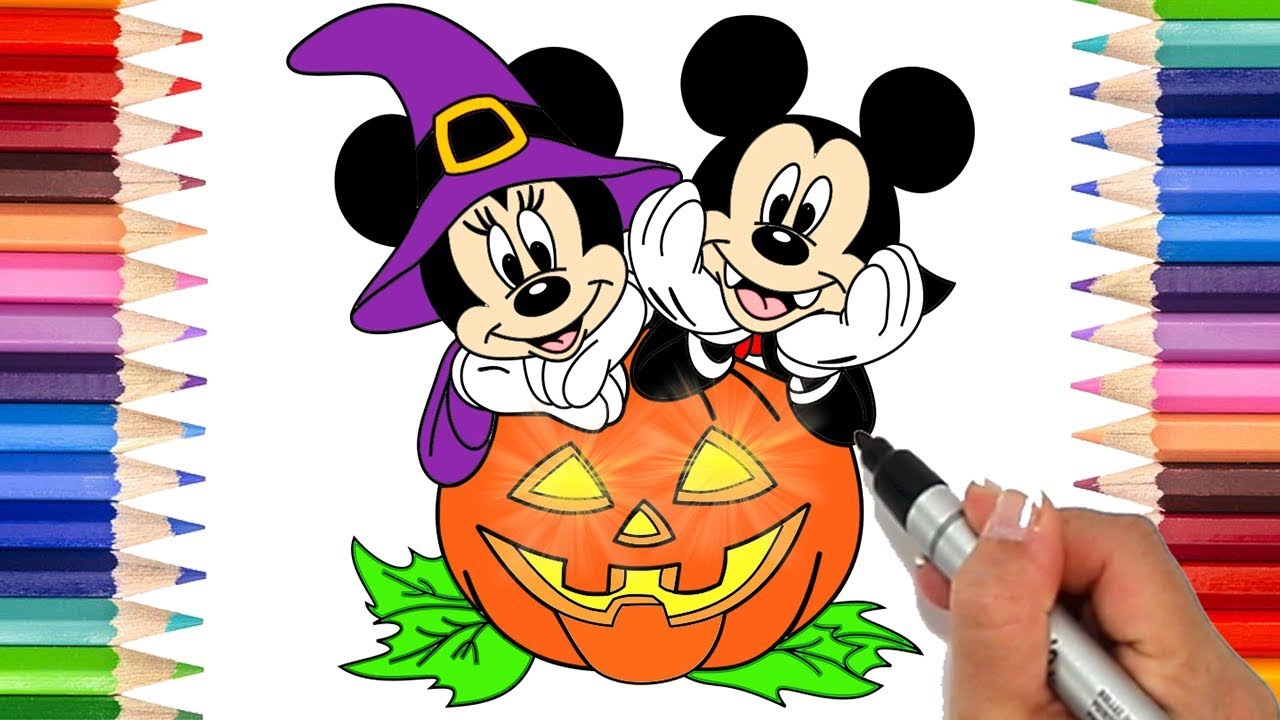 How to Draw Mickey and Minnie Mouse Halloween Coloring Pages for