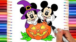 How to Draw Mickey and Minnie Mouse Halloween | Coloring Pages for Kids | Mickey Mouse Coloring Page