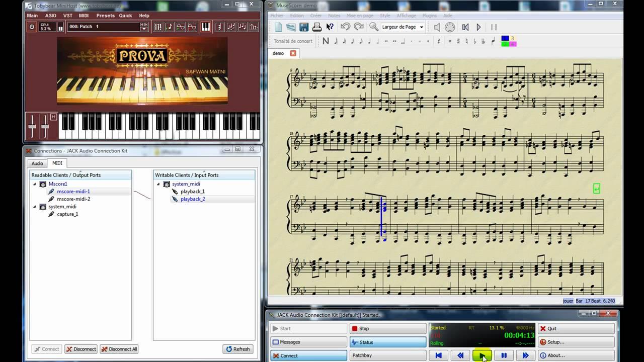 MuseScore To Jack MIDI To VSTi