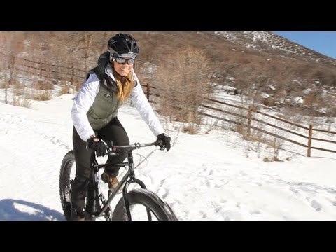 "Ramona Rides A ""Fat Bike"" On Snow-Covered Trails"