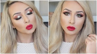 Holiday/Christmas  Gold Glitter + red lips and event announcement | DramaticMAC
