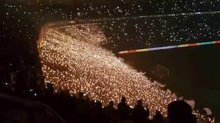 Steigerlied mit Wunderkerzen auf Schalke vor dem Pokalsieg gegen den 1 FC Köln  Dezember 2017