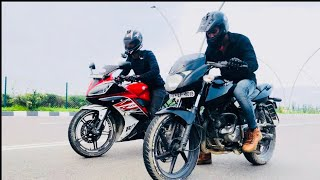 Yamaha R15 VS Bajaj pulsar 180 DRAG RACE