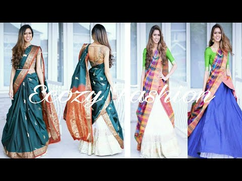 South Indian Half Lehenga Sarees   Drape Lehenga Sarees ideas   Lehenga Designs -2018