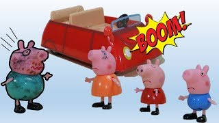Peppa Pig e o carro que pifou por causa do Papai Pig! Vídeos divertidos Historinha Pt Br
