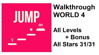 JUMP by KetchApp | Walkthrough #4 - World 4 All Levels 1-10 + Bonus Level, All Stars