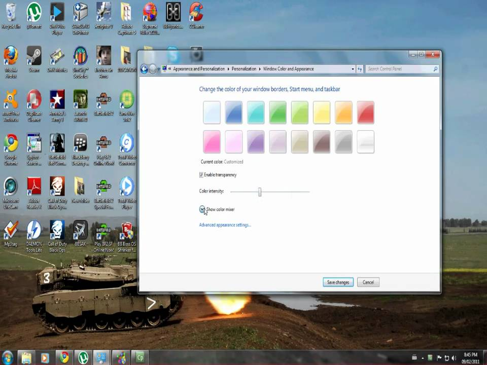 how to change windows 7 color
