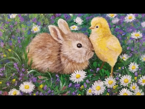 Bunny & Chick Acrylic Painting LIVE Tutorial For Easter
