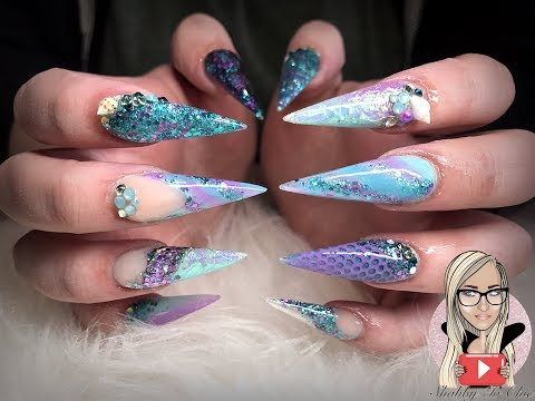 Mermaid nails ~ under the sea ~ long stiletto ~ glam and glits
