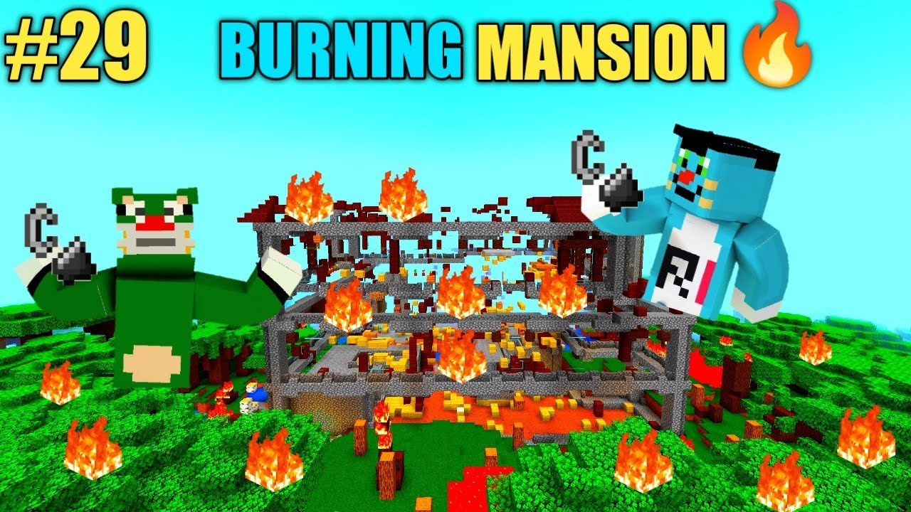 Minecraft   Burned All The Woodland Mansion   With Oggy And Jack   Minecraft (S2)  Rock Indian Gamer
