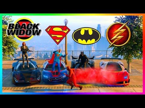 GTA ONLINE SUPERHEROS VS SUPERVILLIANS SPECIAL - BATMAN VS SUPERMAN, SPIDERMAN, THE FLASH & MORE!