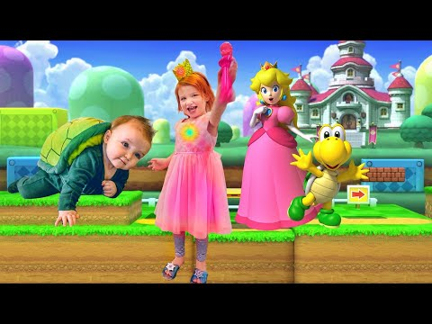 PRINCESS PEACH pretend play with Mystery Guest baby brother - Видео приколы ржачные до слез