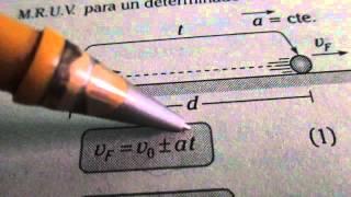 RECUERDA FORMULAS DE MRUV