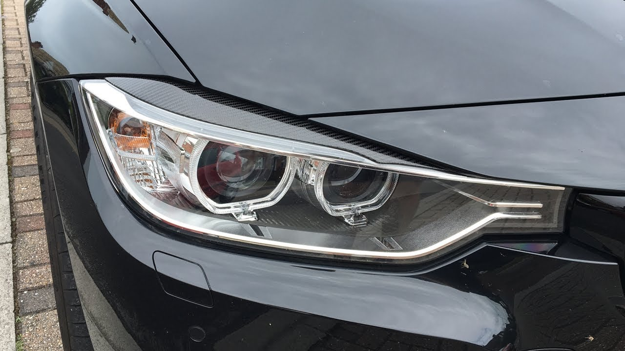 Carbon Fibre Xenon Headlight Eyelids For Bmw 34 Series F30 F31