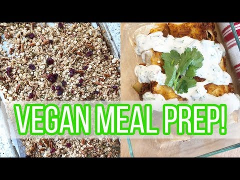 Vegan + Plant-Based Meal Prep! // Veggie Enchiladas, Chickpea Salad, Hummus + Fruit