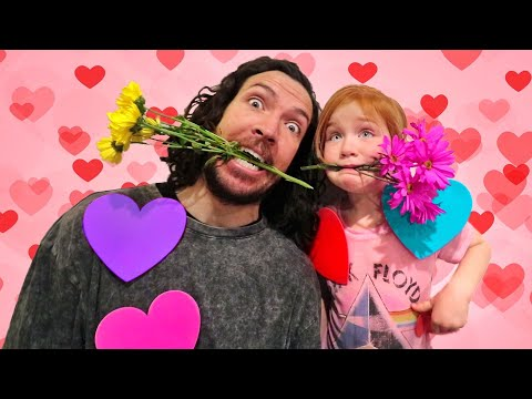VALENTINE'S DAY CHALLENGE  Adley and Dad play a surprise GAME SHOW with Hearts Flowers & Magic