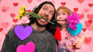 ❤️ VALENTINE'S DAY CHALLENGE ❤️ Adley and Dad play a surprise GAME SHOW with Hearts Flowers & Magic