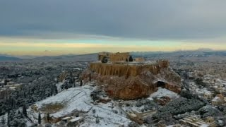 Raw: Aerial View Of Greece Blanketed In Snow