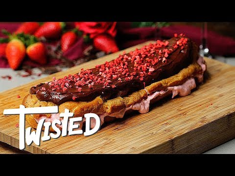 Giant Valentine's Day Strawberry Eclair Recipe | Valentine's Day Desserts | Sweet Treats | Twisted Mp3