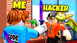 Playing a HACKER for MY ACCOUNT back.. (Roblox MM2)