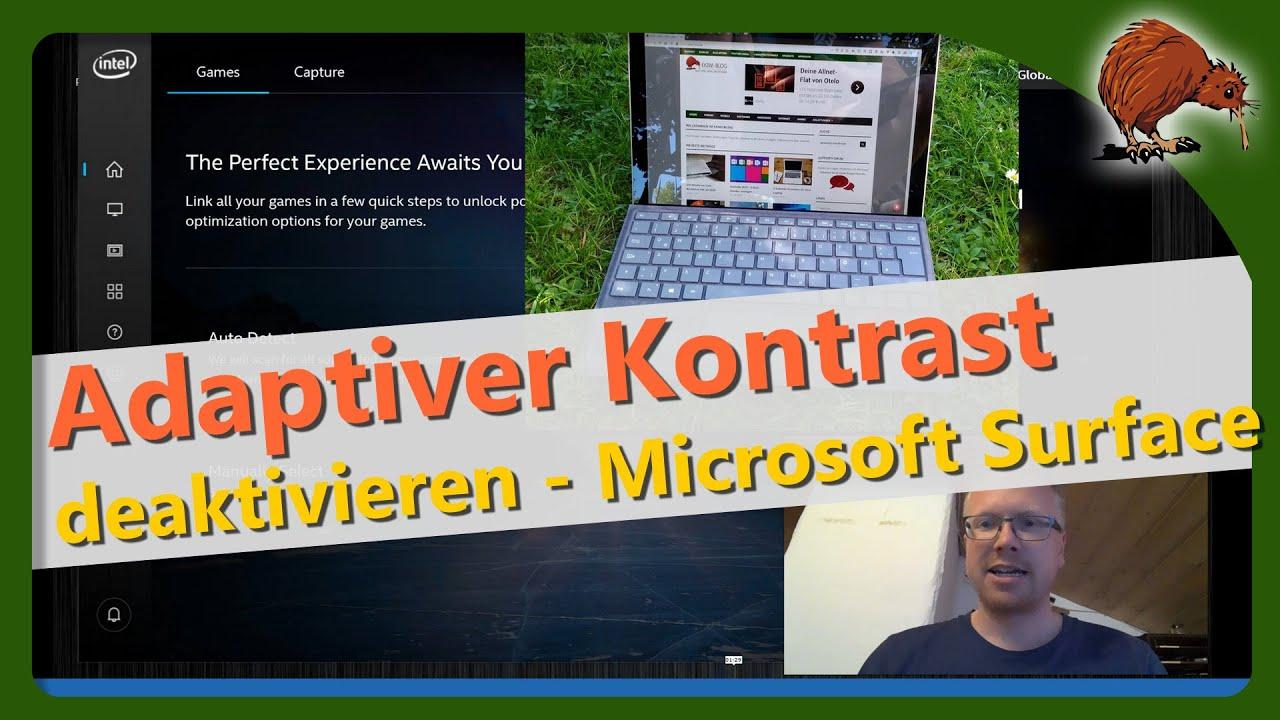 Adaptiver Kontrast beim Microsoft Surface deaktivieren