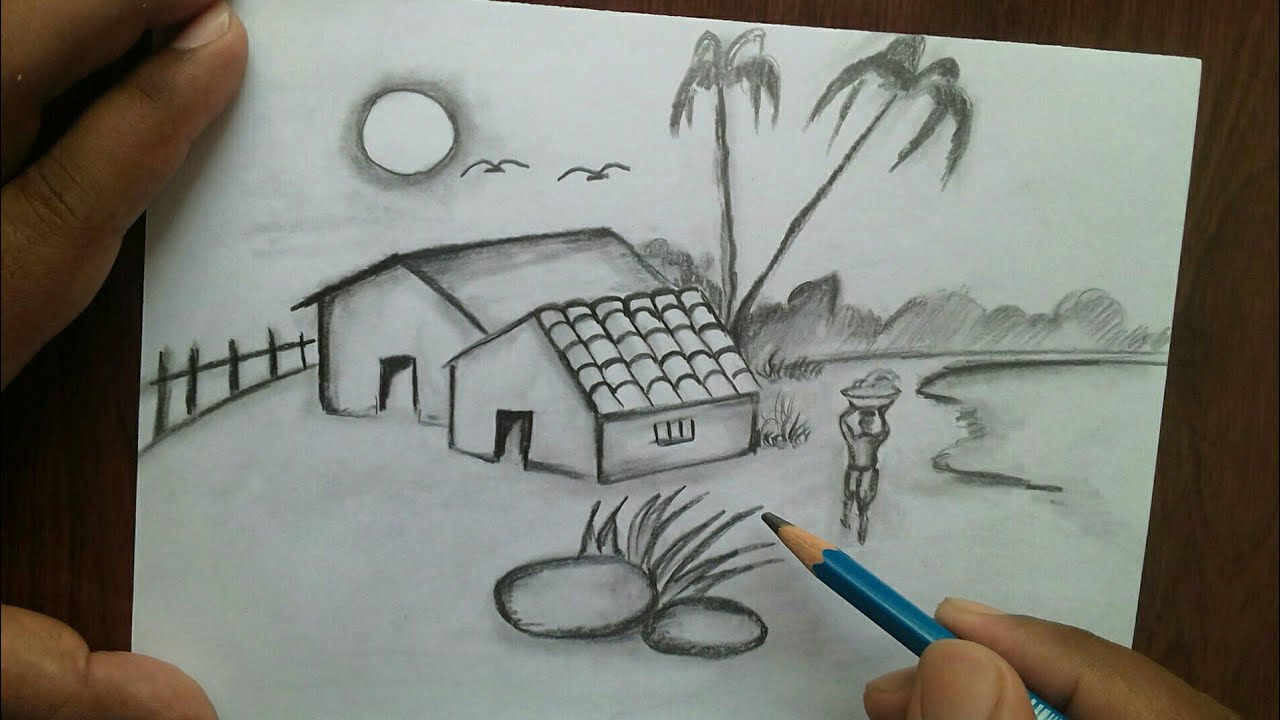 How To Draw Simple Scenery And Beginners Easy Village Scenery Drawing Youtube