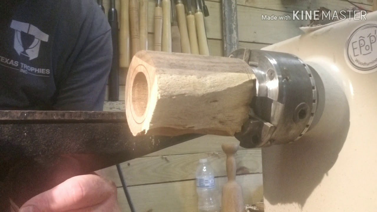 Woodturning a rustic lidded box out of Mesquite  !!