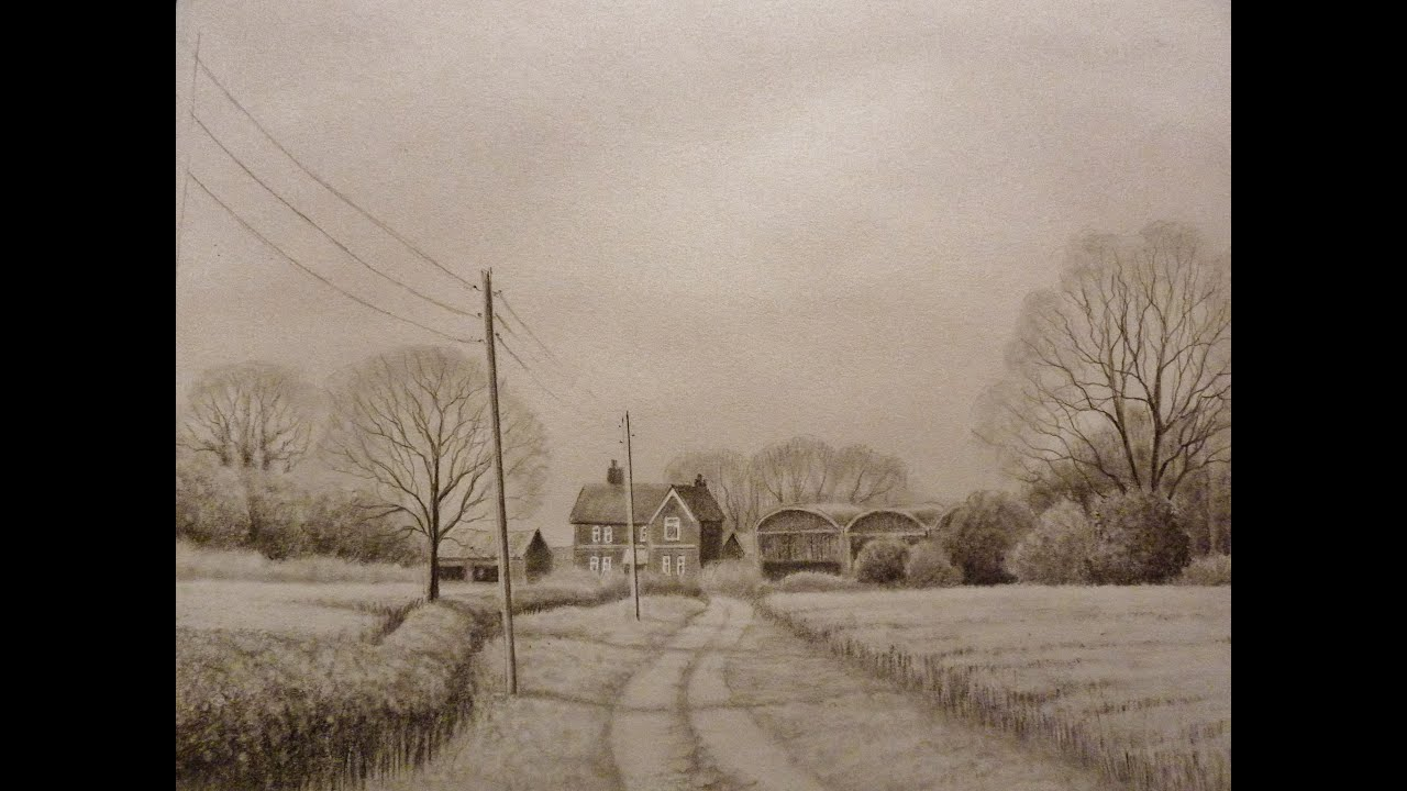 Time lapse landscape pencil drawing farm buildings youtube for How to draw a farmhouse