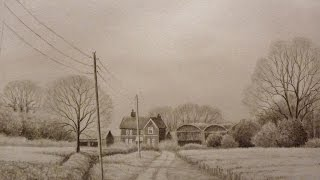 Time Lapse Landscape Pencil Drawing, Farm Buildings