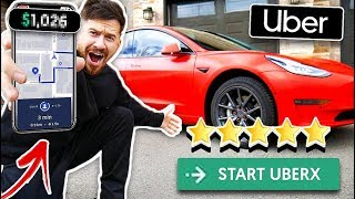 I Was An Uber Driver For A Day & Made $_____ !?  *TESLA*